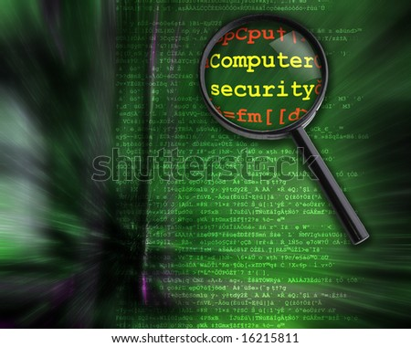 Computer and internet security concept. Hacker code and words zoom with Magnifying Glass.