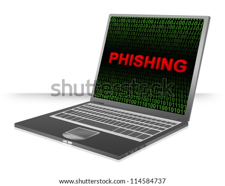 Computer And Internet Security Concept Present by Computer Laptop With Red 3D Phishing Text In Green Binary Code Screen