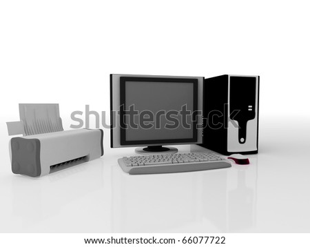 Computer and printer . 3D render
