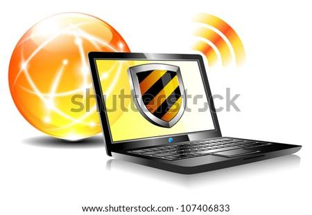 Computer antivirus security protection, firewall digital shield concept - Raster version
