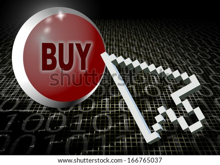 Computer arrow hovering above buy button with binary code in the background / Buying online