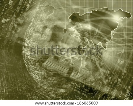 Computer background in sepia with electronic device, map and digits.