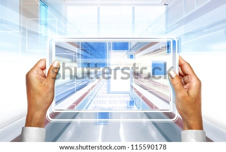 computer background with laptop technologies of the future