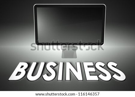 Computer blank screen with word Business, copyspace
