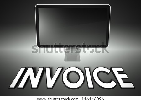 Computer blank screen with word Invoice, copyspace