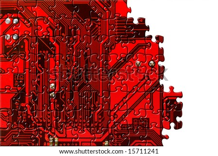 Computer board made of puzzle, technology concept background