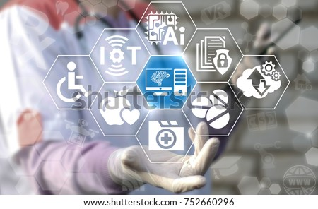 Computer Brain - Medical Mind Tech concept. Smart Medicine. Innovative Healthcare AI IOT Technology. Doctor using virtual interface offers computer brain gears icon. Machine Learning.