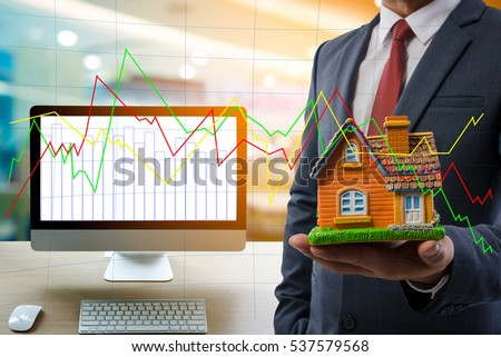 Computer business concept of investment housing.