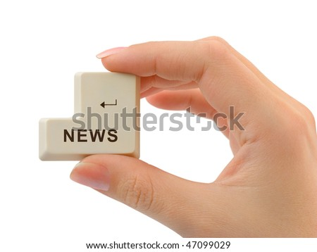 Computer button News in hand isolated on white background