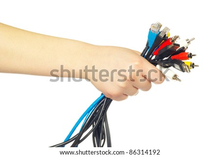Computer cables in hand isolated on white background