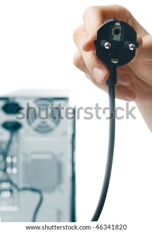 Computer case with plugged supply wire in hand