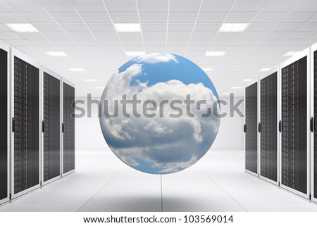 Computer Center with bunch of server racks and cloud