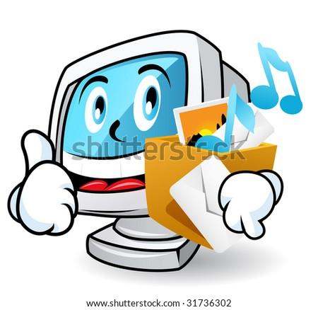 Computer character illustration. Multimedia