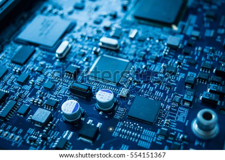 Stock Photo Computer chip circuit motherboard cpu core board blue processor technology background or texture with microelectronics hardware concept electronic device semiconductor