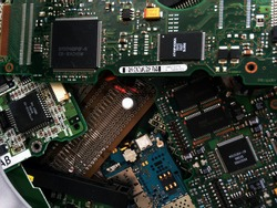 Computer chips on PCBs