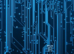 Computer circuit board closeup hardware motherboard background