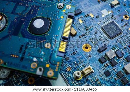 Computer circuit board cpu chip mainboard core processor electronics device : concept of data, hardware, technician and technology.
