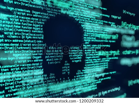 Computer code scripts and system hacking attacks. Conceptual online security and safety background