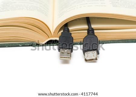 Computer component usb a cable in the book