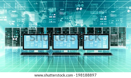 Computer connected to global internet server network and doing data processing #198188897