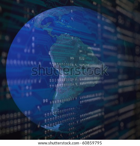Computer connections with a earth globe background. - stock photo