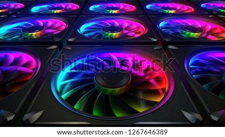 Computer cooler with RGB LED light 3d rendering