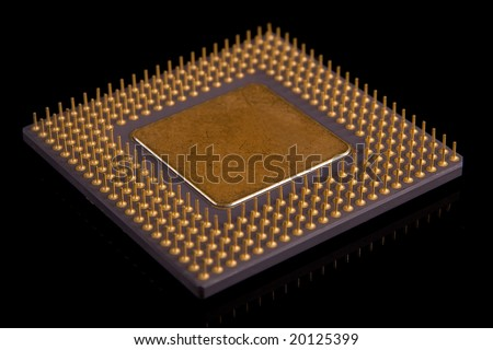 Computer CPU Chip on black background