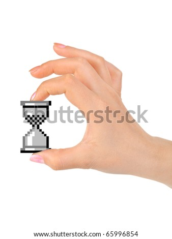 Computer cursor clock in hand isolated on white background