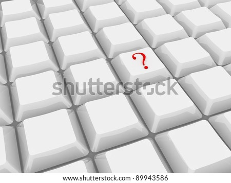 computer 3d keyboard with red question mark push  button