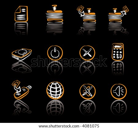 Computer & Data 2 White & Orange icons set on black background