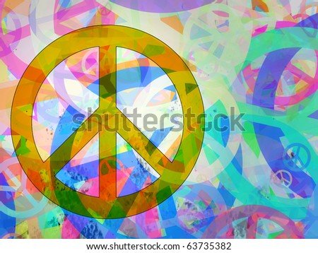 Computer designed highly detailed grunge abstract textured collage - Peace Background