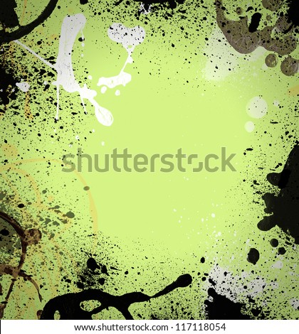 Computer designed highly detailed grunge splatter frame  with space for your text or image. Great grunge layer for your projects.