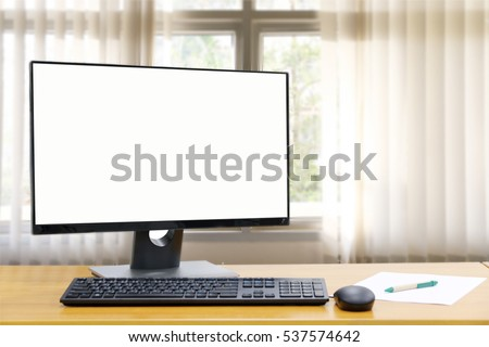 Computer, Desktop PC. for business ,background blur of curtain window.copy space.