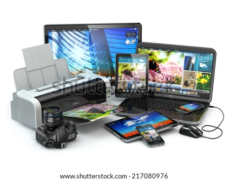 Computer devices. Mobile phone, laptop, printer, camera and tablet pc. 3d stock photo