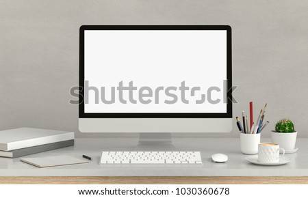 Computer display for mockup on table, 3D rendering #1030360678