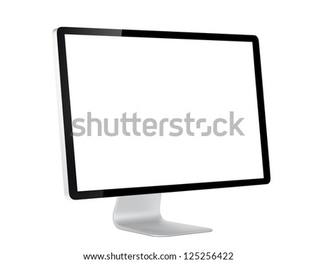 Computer display with white blank screen. Isolated on white background