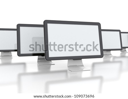 computer displays with multiple images isolated on white background