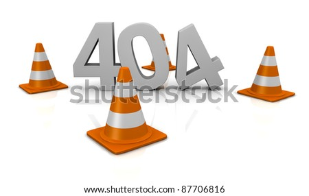 computer error 404 with traffic cones around the number (3d render)