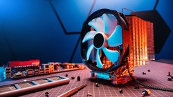 Computer fan. Processor cooling system