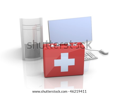 Computer first aid - stock photo