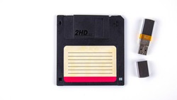 computer floppy disk with usb flash drive on a white background, isolated,