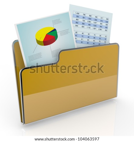 computer folder with chart and spreadsheet (3d render)