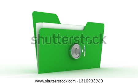 computer folder with key. Isolated 3d image Protecting the Data. 3d illustration