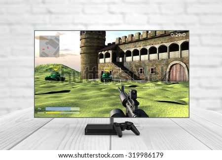 Computer gaming and entertainment technology concept: 3d generated lcd television, gamepad and game console with shooter game on the screen. All graphics are made up.