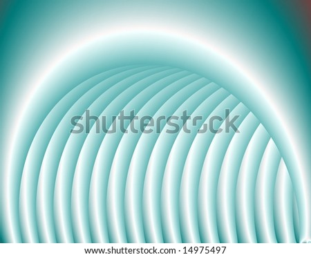 Computer generated abstract artwork in Blue evocative of a ribbed inflatable tunnel.