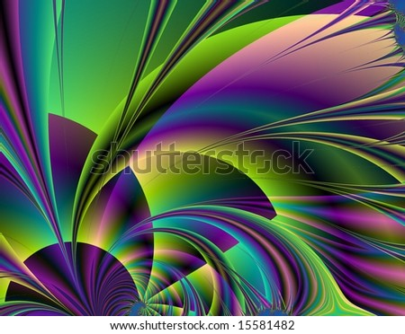 Computer generated abstract image in swirls of green