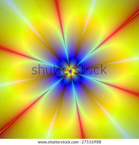 Computer generated abstract image with a floral design in blue and yellow.
