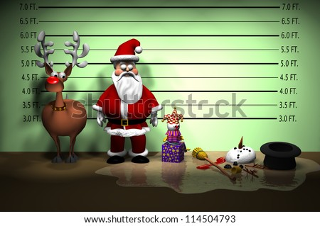 Computer-generated 3D cartoon illustration depicting a Christmas holiday police line-up