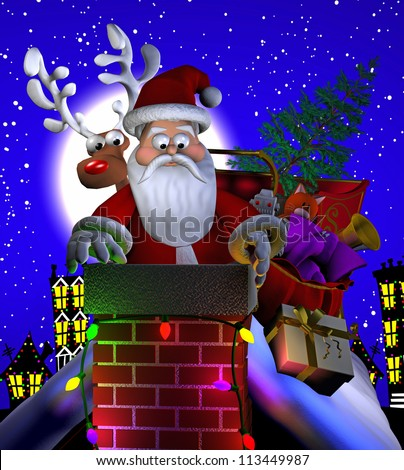 Computer-generated 3D cartoon illustration depicting Santa Claus on a rooftop, stuck in a chimney