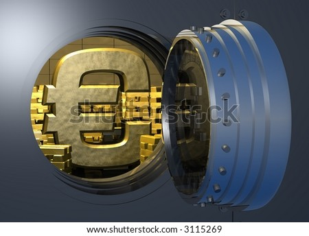 Computer-generated 3D graphic depicting a Euro symbol inside a gold vault (concept: wealth)